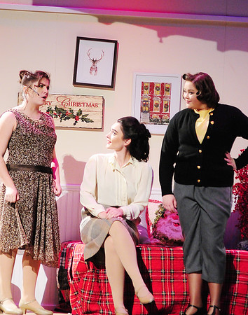 From left, Martha played by Alexa Reider explains to Judy Haynes played by Rianna Lyden and Betty Haynes played by Maria Cade how falling out of love is just as good as falling in love.