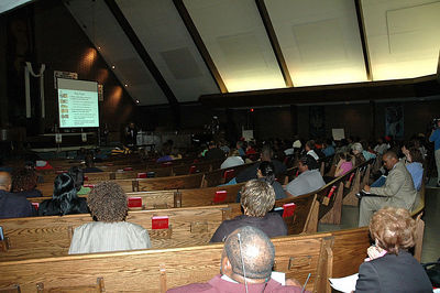Delrose Church hosted one of the four community meetings held.  Wichita Busing USD 259 2005.