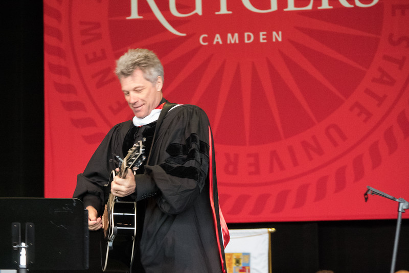 Dr. Jon Bon Jovi performing his new song Reunion for the first time in public, dedicated to the Rutgers graduates Class of 2015
