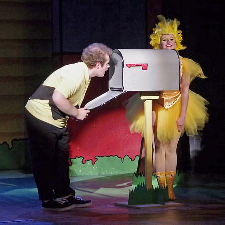 Mark Maynard | for The Herald Bulletin<br /> As Woodstock (Melissa Denney) looks on, Charlie Brown (Isaac Derkach) is predictably disappointed to find that he did not receive a single Valentine.