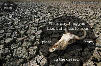 Carcaça de crânio de boi sob o solo rachado de leito seco de rio