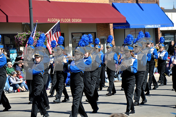 - Messenger photo by Peter Kaspari<br /> <br /> Members of the Humboldt Middle School marching band play their instruments during the annual Band Days Festival parade in Algona Saturday afternoon.