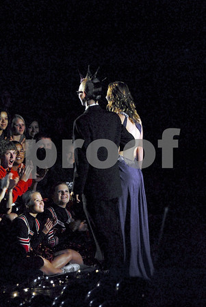 -Messenger photo by Hans Madsen<br /> <br /> Stefan Crowl, at left, and Nicole Cook are presented Friday afternoon during the Fort Dodge Senior High School homecoming coronation ceremony. The pair were crowned king and queen a few minutes later.