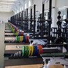 No mirrors here. A long, long line of weights.