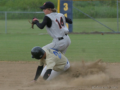 Breaking up double play - the slide of Adna's Tyson Stephens into Napavine 2nd-baseman Wade Hamre was ruled in Napavine's favor.