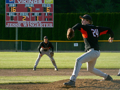 Only a few pitches remain as Napavine pitcher Marty Cozart goes the distance in 16 to 6 win over Rainier Christian in game two of regionals.