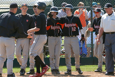 Tiger teammates celebrate with Mathew Waltenburg (3) who knocked a two-run homer in the third inning in game #1 of regionals against Concrete.  Left to right; Asst. Coach Josh Fay, Blake Anthony, Devin Carroll, Mathew Waltenburg (3), Mason Keller (1), Trevor Alexander (12), Joe Scamman (2).