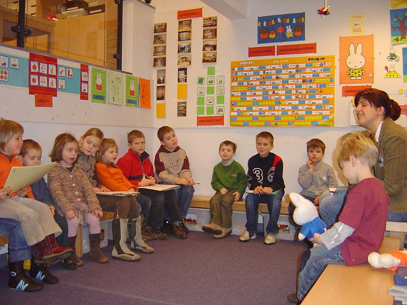 De leerlingen van het vierde leerjaar zijn tijdens de W.O. - lessen aan het leren over de tijd.<br /> Zij wilden eigenlijk wel eens   weten wat we allemaal kunnen als we 2, 3, 4 en 5 jaar zijn?<br /> Daarom trokken zij naar onze kleuterschool om de kleuters te observeren.