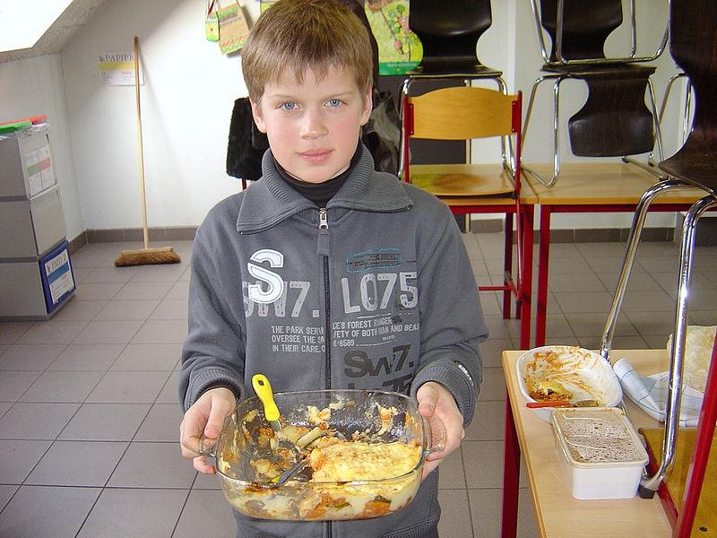 Willem bracht een lekkere Griekse moussaka mee.