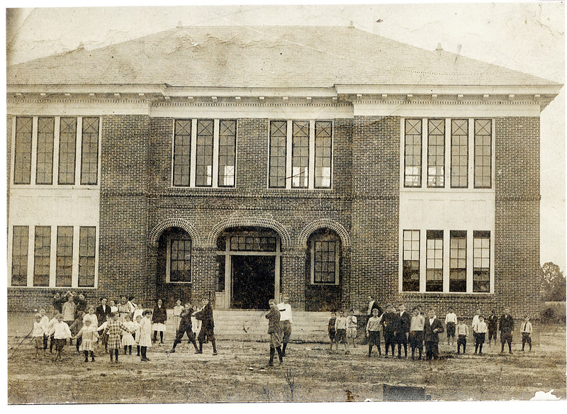 Alapaha Public School about 1920. The two story red brick structure was hit by the 1952 tornado and only the lower floors were salvaged. It served as a Head Start School in the years just preceeding 2000, when it was finally demolished. The new Head Start facility now occupies the lot where the old public school stood.