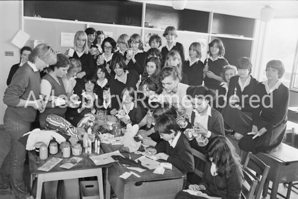 Aylesbury High School girls making things for elderly, Oct 1980