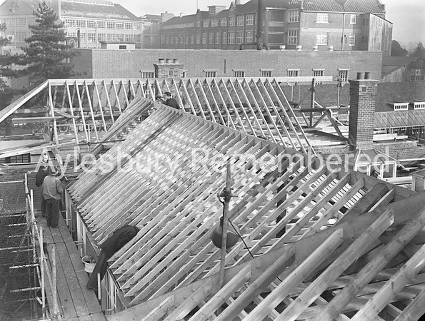 Grammar School repairs after fire, Dec 28th 1953