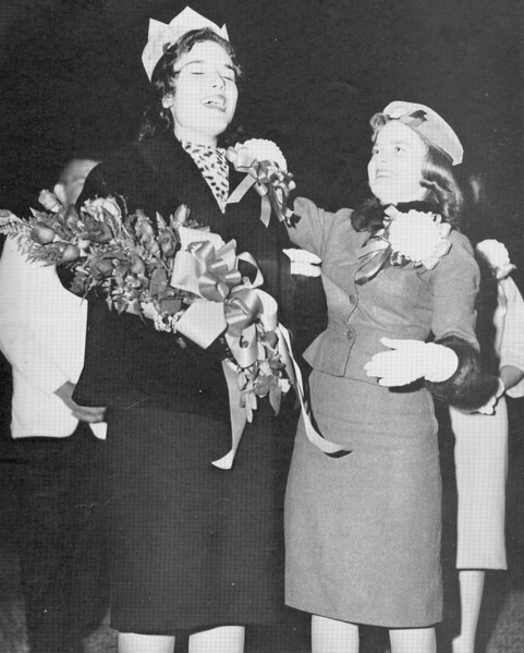 Tears of joy and surprise come as lovely Kitty Brown is crowned 1960 Homecoming Queen by last year's Queen, Miss Peggy Alexander.
