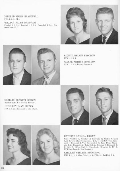 BHS 1961 Seniors_2: Mildred Marie Bracewell, William Ralph Bradham, Ronnie Melvin Brogdon, Wayne Arthur Brogdon, Charles Bennett Brown, Jesse Benjamin Brown, Kathryn Lavada Brown, Carolyn Willene Browning.