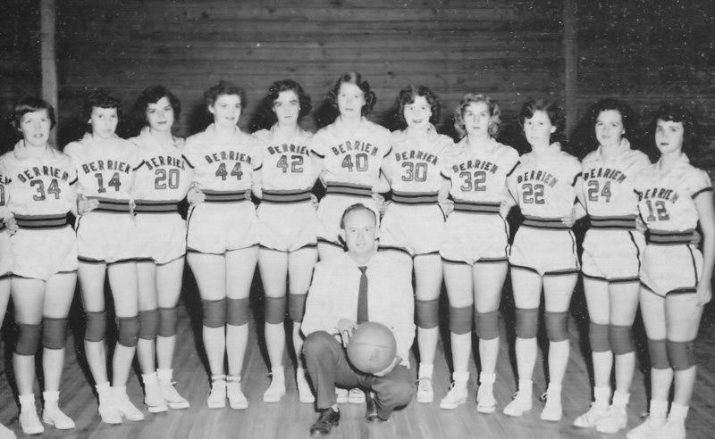 1954-55 BHS varsity girls basketball team.  Lossie Gaskins, coach.