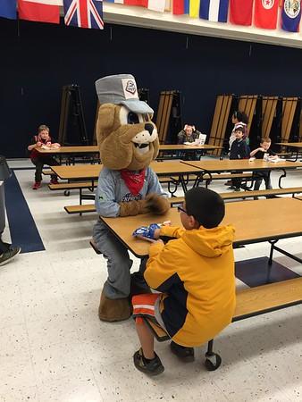 03-12-2015 Spike visits Caldwell Heights for National School Breakfast week.
