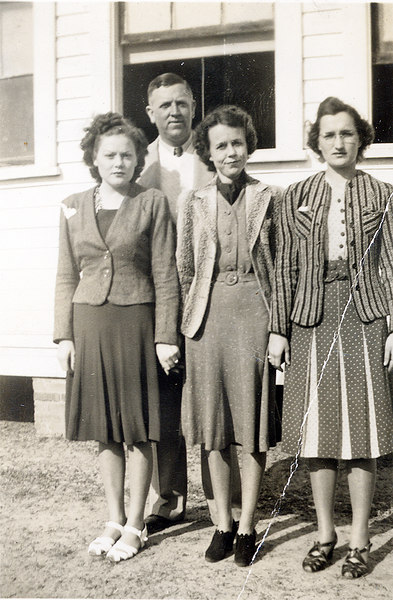 Cottle School faculty about 1937-38. Left to right: Marie Sirmons Connell, Bernys Peters, Evie Connell, Lucille Watson Poole.