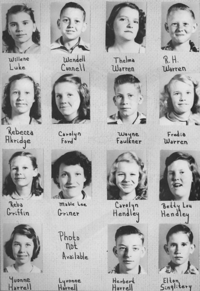 Poplar Springs 1953, 7th Grade, from 1953 yearbook.