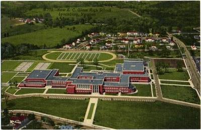 Postcard Aerial View of E.C. Glass High School II (05025)