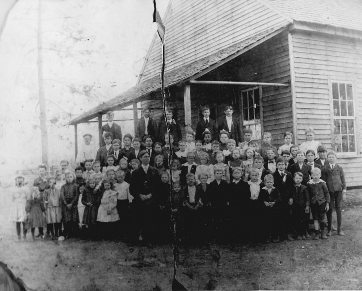 Avera Mill School, circa 1903. Sallie Jane Brown, 5th from right, next to last row, b. 1891. (Courtesy of Britta Kay (Gaskins) Futch)