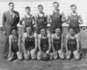 "Enigma High School Boy's Basketball Team, 1946-47<br /> Front Row, Left to Right:  Bernard Griffith, Leroy Little, Jack Luke, Ronald Luke, Aaron Easters <br /> Top Row, Left to Right:  Lindsey Birch, Coach; Paul ""Jick"" Able, Terry Alexander, Inman McMillan, Edward Cauthen"