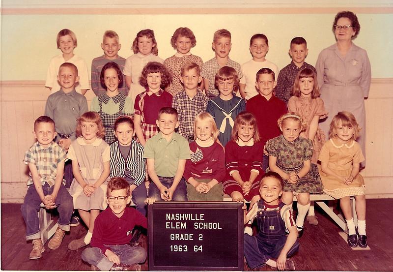 Nashville Elementary 1963-64, Grade 2, Mrs Garth Webb Teacher Teresa Cook, 2nd from left on 1st full row.