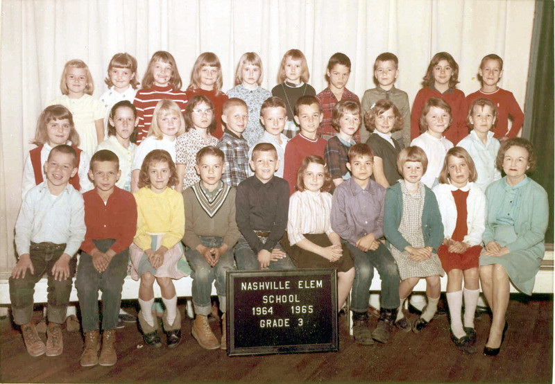 NES 1964-65 Arlo Sneed 3rd Grade<br /> Teresa Cook, 3rd from left on front row.<br /> Photo courtesy of Dorothy Boyd Cook
