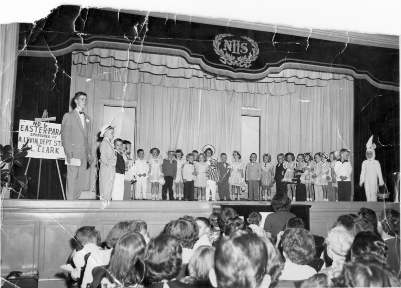 Nashville Kindergarten graduation ceremony in Nashville High School Auditorium in the Stucco Building, April 11, 1952. (Photo by Wink Rogers; photo courtesy of Bobby Polk)