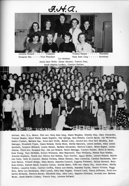 NHS 1953 F.H.A. (Future Homemakers of America).