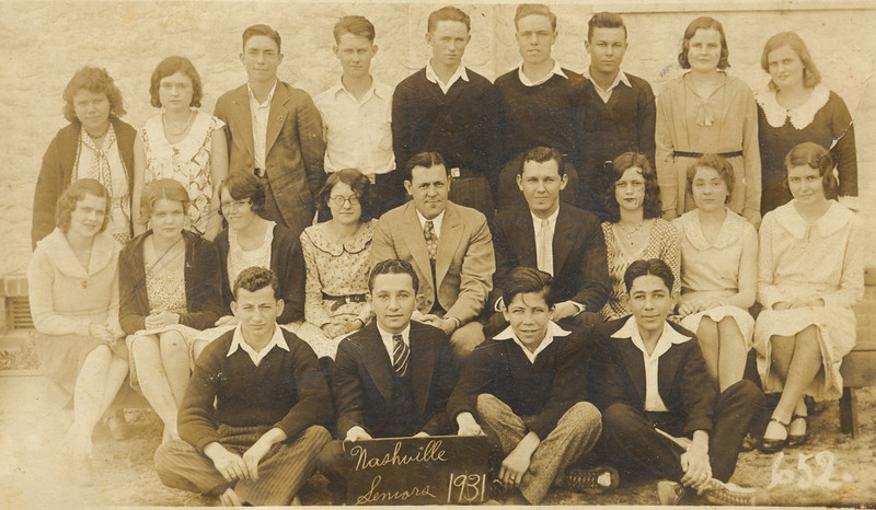 "Nashville High School Seniors 1931.  Top Row Left to Right:<br /> Elnita Nix, Louise Akins, Ollin Watson, Olin Moore, W.H. Outlaw, Clayton Alexander, Garth Webb, Melba Holland, Dorothy Anderson.<br /> Middle Row:<br /> Dorothy Long Futch, Mildred Keefe, Ouida Harper, Mary Scarborough, Supt. Gaines, Principal Whitlow Powell, Lettye Powell, Marie Gaskins Prince, Mary Lou Knight.<br /> Bottom Row:<br /> Gus Bonneti, Leon Levin (President) Roy Dickson, Morris Levin.(Photo courtesy: Bill Outlaw; additional information at: <a href=""http://www.southernmatters.com/image-database/display-selected.php?id=309"">http://www.southernmatters.com/image-database/display-selected.php?id=309</a>"