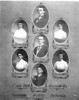 "Nashville Public School, 1909, principal and teachers, and county superintendent.<br /> A. (Abner) J. Avera, principal, J. F. Wood, superintendent, Miss May Clyatt, Miss Alice Rowan, Miss Hattie Ferguson, Miss Cleo Carter, and Earl Carter, teachers. (Courtesy of Debbie Cole and Carter-Clarke House, <a href=""http://www.carterclarkehouse.com/"">http://www.carterclarkehouse.com/</a>)"