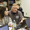 Round Rock HS teacher Roy Smith discusses events of the English Romantic Period with senior Leah Doherty during a recent British Literature Dual Credit class.