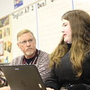 Round Rock HS teacher Roy Smith discusses events of the English Romantic Period with senior Gillian Brame during a recent British Literature Dual Credit class.