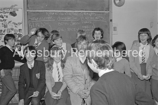 Noel Edmunds at Sir Henry Floyd Grammar School, Dec 1983