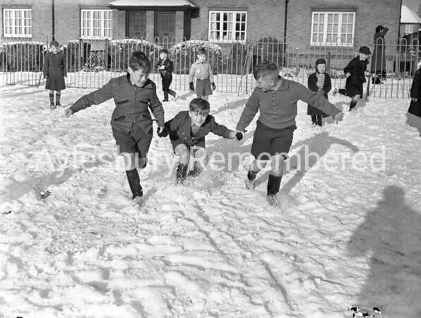 Snowball fight at St Mary's School, Jan 1958