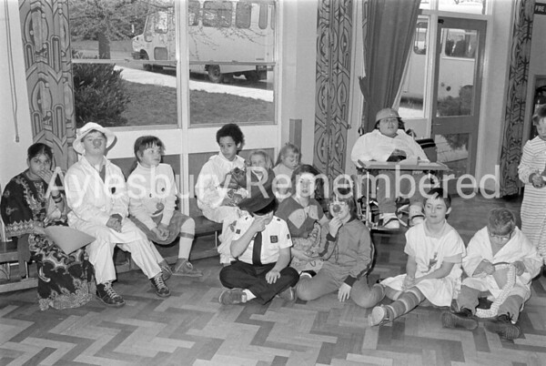 Red noses at Stocklake Park School, Feb 1989
