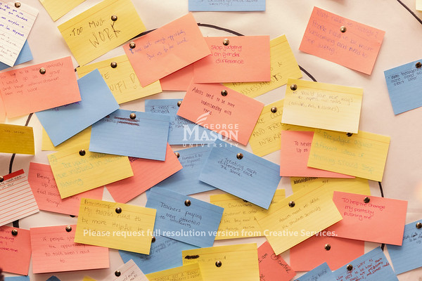 Things high school students want to see changed posted on a board during Courageous Conversations. Photo by Lathan Goumas/Office of Communications and Marketing   Photo Taken:Friday, October 25, 2019