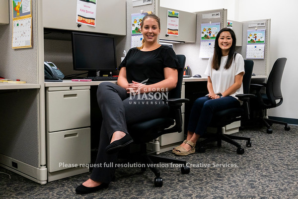 Kelly Blythe and Michelle Lee, Public Health majors, interned at the Fairfax County Health Department. Photo by Lathan Goumas/Strategic Communications