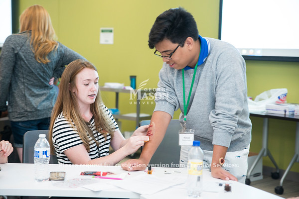 High school students attending Nursing Camp learn about forensic nursing through interactive activities. (Bethany Camp/Creative Services/George Mason University)