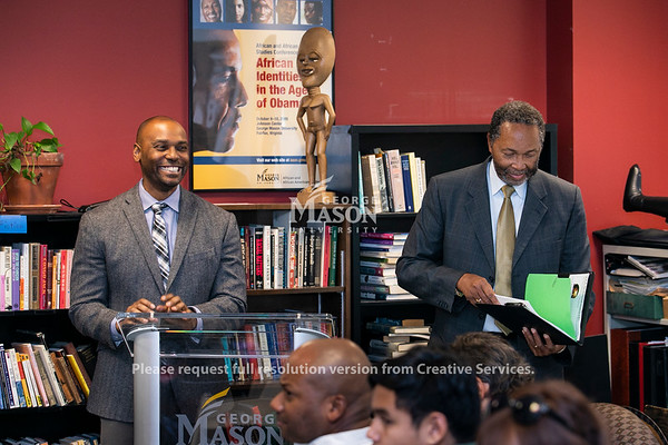Dr. Stefan Wheelock and Dr. William Harvey during the W.E.B. Du Bois and Alain Locke: Activism, Scholarship, and Creativity in Black American Life Interdisciplinary Workshop.  Photo by:  Ron Aira/Creative Services/George Mason University