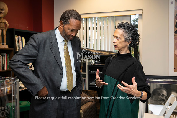 Dr. William Harvey and Dr. Rose Cherubin (PHIL/AAAS/WMST) during the W.E.B. Du Bois and Alain Locke: Activism, Scholarship, and Creativity in Black American Life Interdisciplinary Workshop.  Photo by:  Ron Aira/Creative Services/George Mason University