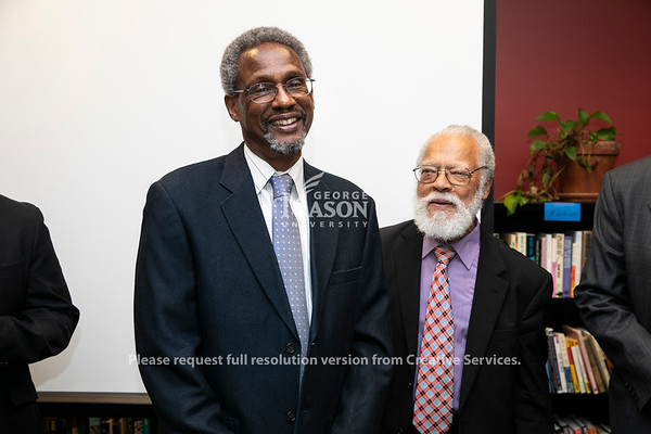 Dr. Spencer Crew (Robinson Professor of History/AAAS, Interim Director of the National Museum of African American History and Culture) and Dr. Rutledge Dennis during the W.E.B. Du Bois and Alain Locke: Activism, Scholarship, and Creativity in Black American Life Interdisciplinary Workshop.  Photo by:  Ron Aira/Creative Services/George Mason University