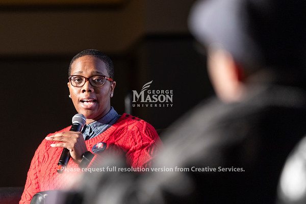 Dr. Michelle Allen, assistant director of the Office of Diversity, Inclusion and Multicultural Education, moderates a talk with Dr. Robin Boylorn and Dr. Keeanga-Yamahtta Taylor during the 2019 Sojourner Truth Lecture. Photo by Lathan Goumas/Strategic Communications