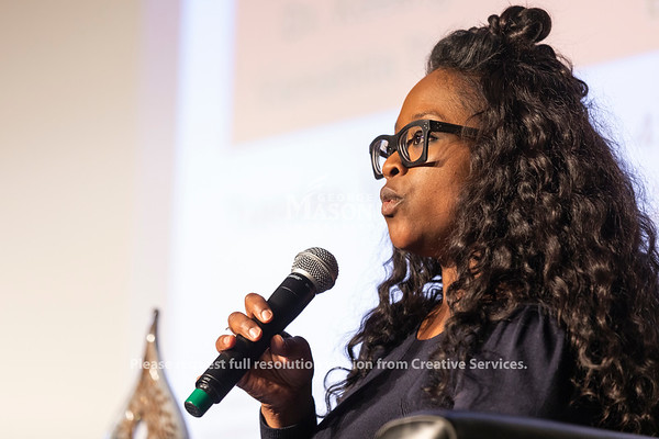 Dr. Robin Boylorn talks during the 2019 Sojourner Truth Lecture. The talk was moderated by Dr. Michelle Allen, assistant director of the Office of Diversity, Inclusion and Multicultural Education, and also featured Dr. Keeanga-Yamahtta Taylor. Photo by Lathan Goumas/Strategic Communications