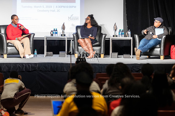 Dr. Michelle Allen (left), assistant director of the Office of Diversity, Inclusion and Multicultural Education, moderates a talk with Dr. Robin Boylorn (center) and Dr. Keeanga-Yamahtta Taylor (right) duirng the 2019 Sojourner Truth Lecture. Photo by Lathan Goumas/Strategic Communications
