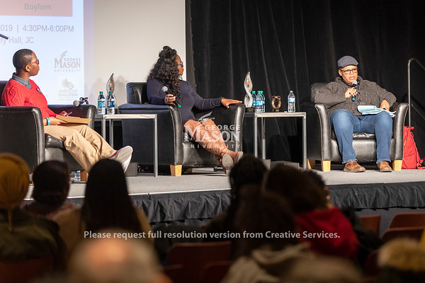 Dr. Keeanga-Yamahtta Taylor(right) talks during the 2019 Sojourner Truth Lecture. The talk was moderated by Dr. Michelle Allen (left), assistant director of the Office of Diversity, Inclusion and Multicultural Education, and also featured Dr. Robin Boylorn (center). Photo by Lathan Goumas/Strategic Communications