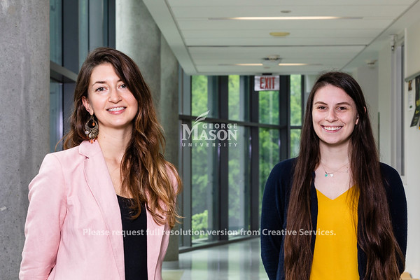George Mason University PhD. candidates in Environmental Science and Policy Jessica Roberts and Sarah Farinelli won Fulbright Scholarships. Photo by Lathan Goumas/Strategic Communications
