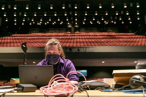The cast and crew of the School of Theater's production, Luther's Trumpet, rehearses at the Center for the Arts Concert Hall. Photo by: Shelby Burgess/Strategic Communications/George Mason University