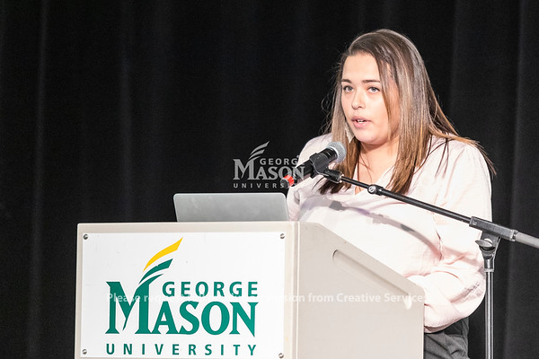 George Mason senior Ashlyn Tehoke speaks at the launch of the Institute for a Sustainable Earth. Photo by Lathan Goumas/Strategic Communications