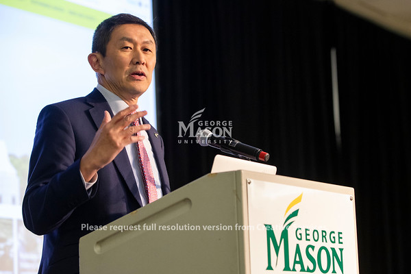 George Mason Provost S. David Wu speaks at the launch of the Institute for a Sustainable Earth. Photo by Lathan Goumas/Strategic Communications